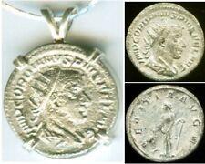AD243 Silver Roman Denarius Teen Emperor Gordian + Joy Gladness Goddess Laetitia