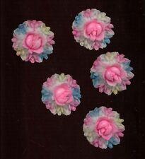 VINTAGE PLASTIC CELLULOID Cabochon FLOWER WREATH Bouquets JAPAN Hand Painted