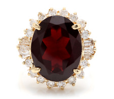 9.95 Carats Natural Red Garnet and Diamond 14K Solid Yellow Gold Ring