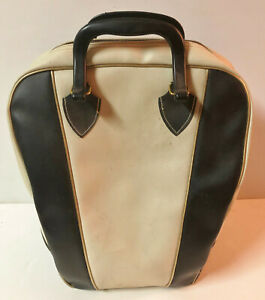 VINTAGE CLARK ROCKABILLY ONE BALL BOWLING BAG CREAM AND BLACK NAUGAHYDE