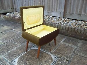 Vintage retro 1950's sewing vanity box stool original green/brown fabric