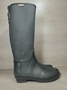 Hunter Black Rubber Black Canvas Tall Rain Snow Boots Shoes Women's 39 US 8 (c2