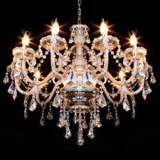 10 Arms K9 Crystal Glass Chandelier Ceiling Light E12 Pendant Lamp Cognac Color