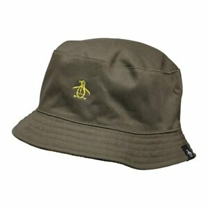 Original Penguin Mens Reversible Plain Twill Bucket Hat (Khaki / Camo)