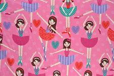 Pink Ballerina Flannelette Fabric 108cm Wide (per metre)