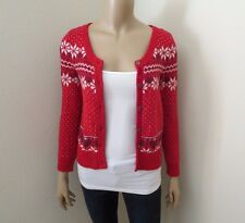 Hollister Women Fair Isle Knit Cardigan Christmas Sweater Size Small Red