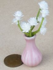 1:12 Scale Plastic Flowers In A Pink Ceramic Vase Tumdee Dolls House P34cc