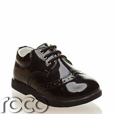7fc1cc5a36d7 Baby Boys Black Brogue Patent Lace Up Formal Shoes Flexible Sole for  Comfort 1-8