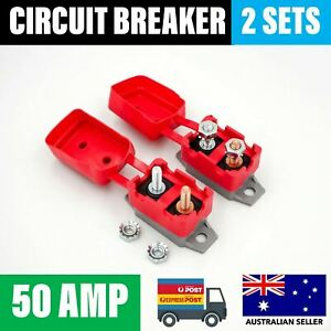 2 x 50A Circuit Breaker Stud Type 12V 24V Auto Reset Red Cover 50 AMP