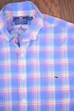 Vineyard Vines Button Front Slim Fit Tucker Shirt Blue Pink Check Men's XL