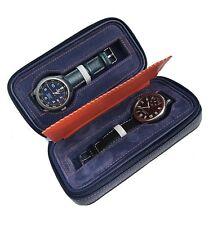 Riun Ex Blue Leather Dual Watch Storage Box Holder Display Organizer Protect NEW
