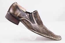 FIESSO by Aurelio Garcia Men's Distressed Leather Cutout Loafers Sz 42 Brown