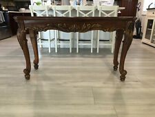 Antique Traditional Wood Console Table With Louis XV Carved Cabriole Style Legs