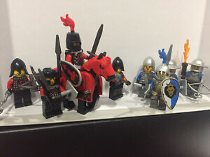 LEGO Castle minifigures - Four Crown Knights and Four Dragon Knights + Horse