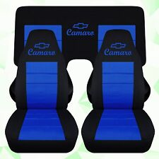 1993-2002 chevy camaro car seat covers black and blue  3 pcs rear More in store