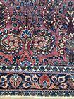"Beautiful Ornate Antique Oriental Rug Burgendy Navy Ornate AF 76"" X 50"""