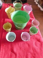 BUCKETS, PASTEL COLORED, MINIATURE  9 BUCKETS