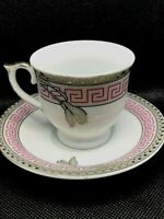 JI YUAN Demitasse Espresso Porcelain Tea Cups & Saucers Greek Key Pink Silver