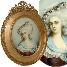 "Antique 7.5"" Portrait Miniature: ID'd Princesse de Lamballe, Gilt Bronze Frame"