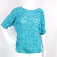 Chicos Womens 1 Blue Chevron Open Knit Pullover Sweater Boat Neck Elbow Sleeves
