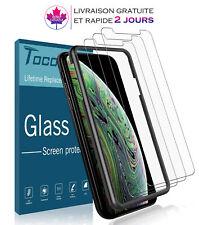 Lot de 3 films protecteurs d'écran+Coque Friendly pour iPhone XS et iPhone X