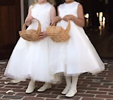 Joan Calabrese Ivory ALine Flower Girl Dress Sz 2 (fit 4-5 Yr)Tea Length 216313