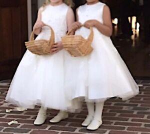 Joan Calabrese Ivory ALine Flower Girl Dress Sz 2 (fit 4-5 Yr)Tea Length 216313