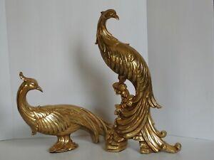 Mid Century Modern SYROCCO Hollywood Regency Pair Gold Peacocks Pheasants NICE!