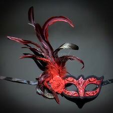 Fashionable Venetian Feather Masquerade Mask w/ Rose for Women Red M33134