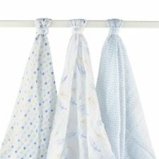 Hudson Baby Muslin Swaddle Blankets, 3-Pack, Blue Feathers