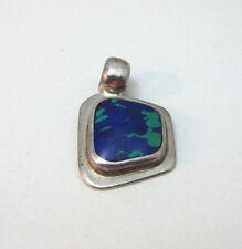 Green Stone Inlay Pendant Mexico * Southwestern Sterling Silver Vintage Blue &