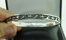 "Peter Stone PSCL Sterling Silver Sea Turtle Wave Bangle Bracelet (Inter. 8.25"")"
