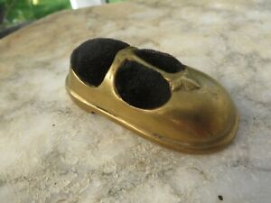 Stunning large brass child shoe pin cushion Vintage pretty detail Collectable