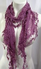 Womens Scarf Purple Lilac Lace Sheer Rectangle Shabby n Chic Victorian Romantic