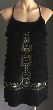 920's Style ZARA BASIC Black Fringed Embellished Mini Dress  Size M (12)
