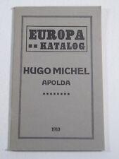 Europa Katalog  Hugo Michel Apolda 1910-German Stamp Collecting 108 pages