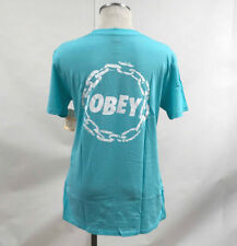 Obey Women's T-Shirt Jumble Chain Turquoise Size S NWT Shepard Fairey