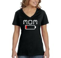 Women's Mom Mama Battery Low Funny Mother's Day Mom Gift V-Neck T-Shirt