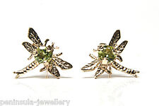 9ct Gold Peridot Dragonfly Stud earrings Made in UK Gift Boxed studs