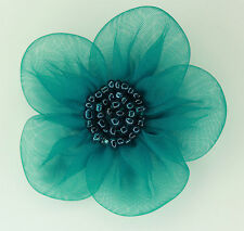 5 Pieces Large Organza Flowers Sew On Appliques   Colour: Teal  #2