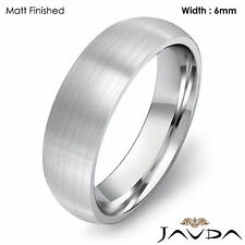 Solid 14k Gold White Plain Dome Wedding Band Men's Comfort Classic Ring 6mm 9.2g