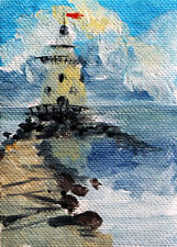 "ACEO Original Painting Collectible Art Card ""Path to Lighthouse"""