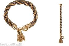 NEW GUESS GOLD & SILVER TONE ROPE,TWISTED CHAIN,TASSEL CHARM TOGGLE BRACELET