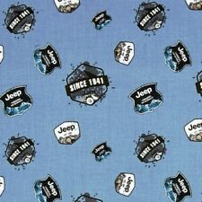 Jeep Pioneering the Wilderness Since 1941 Logos Blue Cotton Fabric Fat Quarter