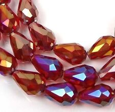 Czech glass Firepolish Faceted Teardrop Beads - AB Ruby red 8""