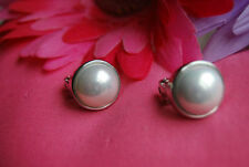 Pearl Clip Round Costume Earrings