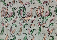 Dev Vintage Indian Saree Cotton Silk Peacock Printed Sari Craft Used Fabric 5 Yd