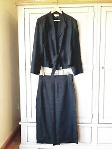 Joyce Ridings Black Linen suit, Tie front Jacket, long pencil skirt UK size 16