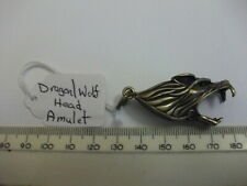 Fob/Pendant/Charm Brass Amulet Hand Carved Old Pocket Watch Wolf Head Chain