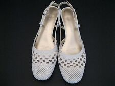 LADIES DAVID TATE WHITE LOW HEEL SHOES, ANKLE STRAP, WOVEN DESIGN, SIZE 7.5 SS(